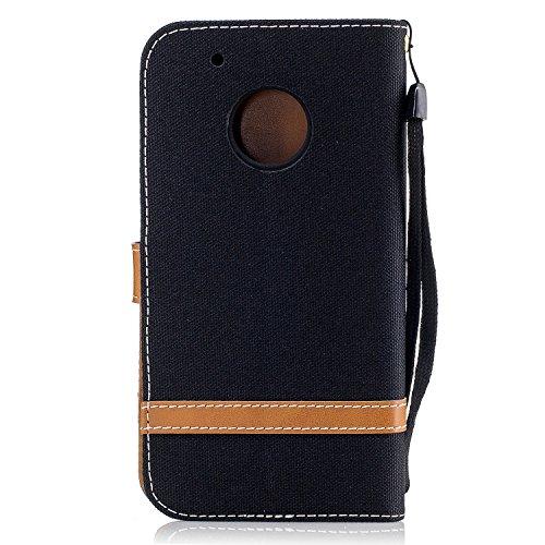 Para Motorola Moto G5 funda, (Vaquero gris) Dril de algodón de colores mezclados caja del teléfono móvil de cuero PU Leather cubierta Función de Soporte Billetera con Tapa para Tarjetas correa de mano Vaquero negro