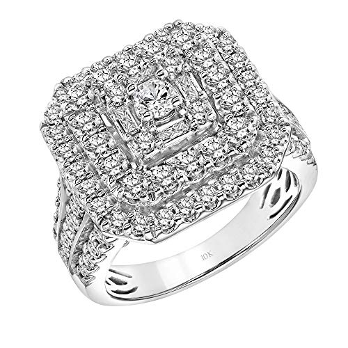Brilliant Expressions 10K White Gold 2 Cttw Conflict Free Diamond Regency Square Double Halo Engagement Ring (I-J Color, I2-I3 Clarity), Size 6.5