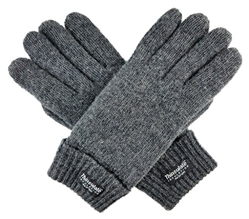 Bruceriver Ladie's Wool Knit Gloves with Thinsulate Lining Size S (Grey)