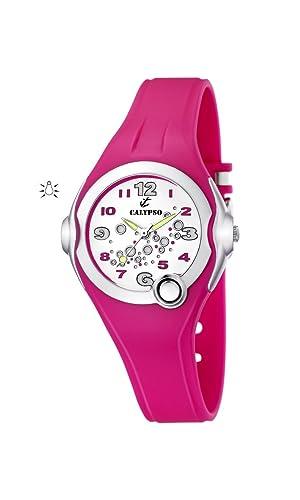 Calypso Watches - Reloj analógico de Cuarzo para niña con Correa de Caucho, Color Rosa: Amazon.es: Relojes
