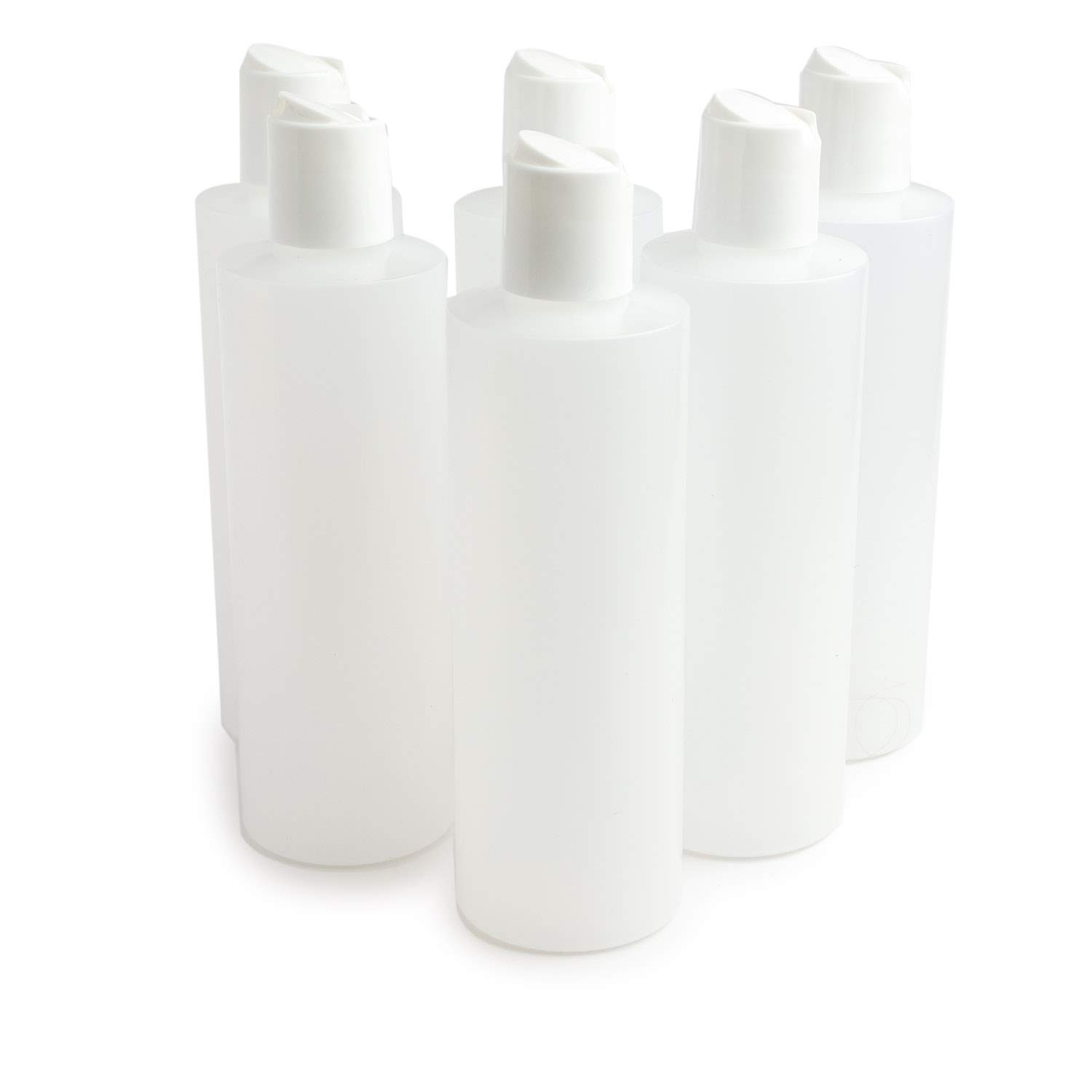 Grand Parfums 8 oz, 240ml Plastic Squeeze Bottles with Disc Top Flip Cap, great for Creams, Shampoos, Soups, and Other Liquids, 6 Count