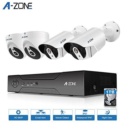 A-ZONE 960P Security Camera System 4CH HD-TVI DVR 2X IP Bullet Camera and 2X IP Dome Camera IR Night Vision Indoor Outdoor 1TB Hard Drive