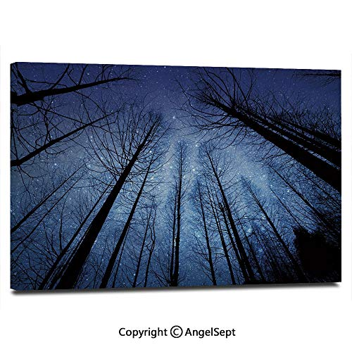 Modern Gallery Wrapped Forest Dry Tree Branches Starry Sky Stars Dawn Winter Landscape Image Decorative Pictures on Canvas Wall Art Ready to Hang for Living Room Kitchen Home Decor,12