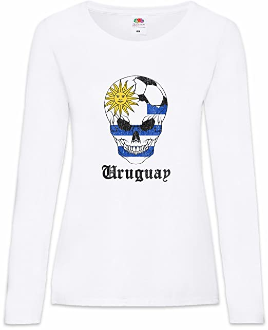Urban Backwoods Uruguay Football Skull I Mujer Woman T-Shirt De Manga Larga Tamaños XS