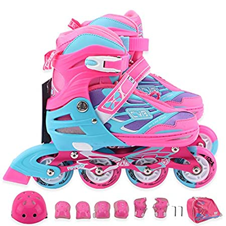 CVB Adjustable Childrens Inline Skates with Light up Wheels for Beginner Rollerblade,Come with Helmet and Protective Gear Set