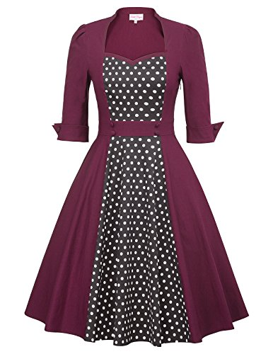 Women Vintage 1950s Retro Rockabilly Prom Dresses Size M Wine - 1950 Vintage