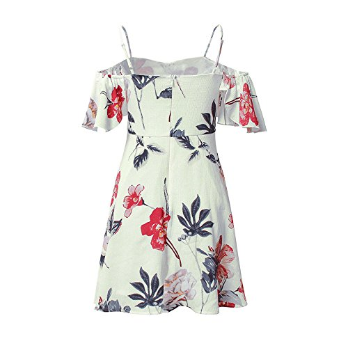 Dress Summer with Lining of Beach Holiday for Slip Off Material Chiffon Shoulder Birdfly Women Hawaii Made Hd1wXH