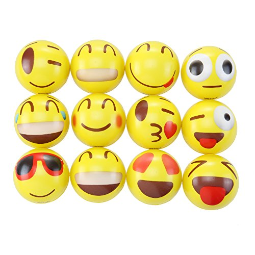 24 Colorful Emoji Stress Balls - Squishy, Squeezable Fidget Toy for Kids Materials for Lasting Use - Cool Squeeze Balls Improve Anxiety and ADHD - Great Party Favors or Classroom Toys