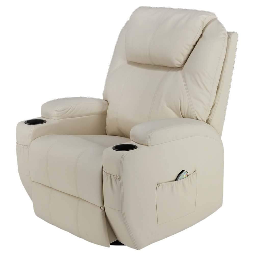 Homegear Recliner Chair with 8 Point Electric Massage and Heat Cream
