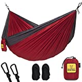 Hammock for Camping Single & Double Hammocks - Top Rated Best Quality Gear For The Outdoors Backpacking Survival or Travel - Portable Lightweight Parachute Nylon DO Red & Charcoal