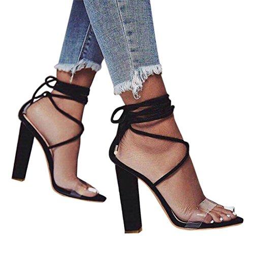 Sandales Lacets à Talons Carrés,OveDose Été Femme Chaussures Transparente Jaune Chic Lien Nouer à La Cheville Daim Sexy High Heel Noir