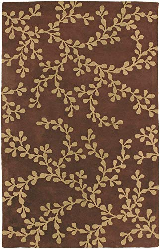 (Surya Artist Studio ART-192 Transitional Hand Tufted 100% New Zealand Wool Coffee Bean 9' x 13' Floral Area Rug)