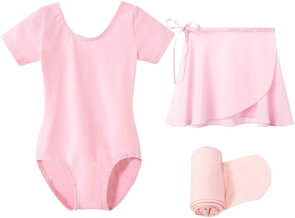 STELLE Short Sleeve Ballet Leotard Combo with Dance Skirt and Dance Tight