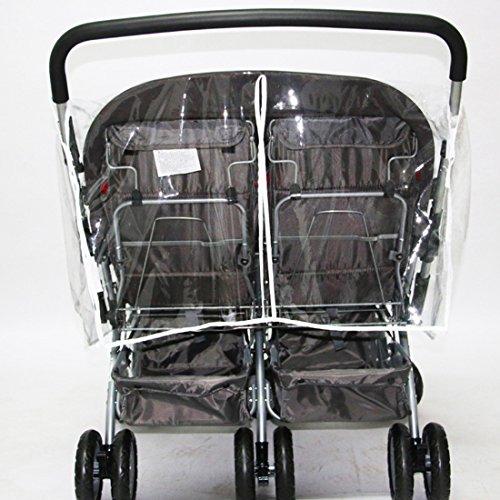 Jiyaru Twin Stroller Rain Cover Universal Buggy Waterproof Wind Dust Shield by Jiyaru (Image #2)