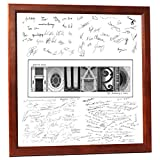 Wedding Bride and Groom Personalized 20 by 20 inch Guest Book Registry w/ Architectural Name including Frame, 6 Opening Name Collage for 4x6 and 5x7 Photographs with Signature Board