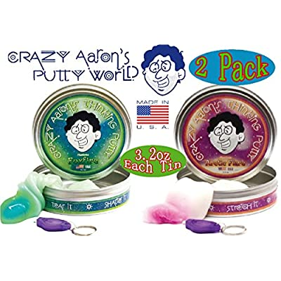 Crazy Aaron's Thinking Putty Phantoms (UV Reactive) Foxfire & Arctic Flare wi...: Toys & Games