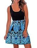 Sherosa Women's Summer Beach Sleeveless Tank Top Floral Print Casual Swing Mini Dress (L, Blue 1)