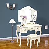 Blongang Vanity Table Tri-Folding Mirror Vanity Dressing Table with Stool 5 Drawers Bedroom Vanity Makeup Table Set ,Ivory White