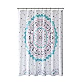Pink and Turquoise Shower Curtain Comfort Spaces Teal/Pink / White/Grey Shower Curtain - Ari Shower Curtains for Bathroom in Printed Medallion Design - 72x72 inches