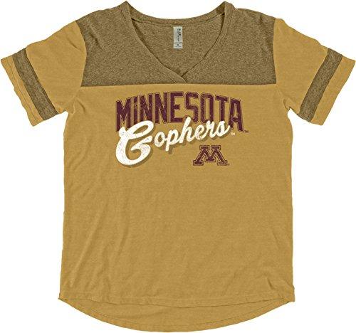 NCAA Minnesota Golden Gophers Women's Dyed Varsity Tee, X-Large, Mustard Minnesota Golden Gophers Tailgate