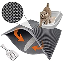 """Pieviev Cat Litter Mat Anti-Tracking Litter Mat, 30"""" X 24"""" Inch Honeycomb Double Layer Waterproof Urine Proof Trapping Mat for Litter Boxes, Large Size Easy Clean Scatter Control (Scoop Included)"""