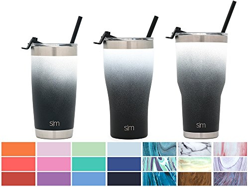 Simple Modern 32oz Slim Cruiser Tumbler with Straw & Closing Lid Travel Mug - Vacuum Insulated Water Coffee Cup Double Wall - Hydro 18/8 Stainless Steel Flask Thermos - Tuxedo by Simple Modern