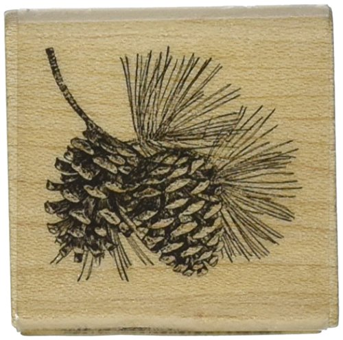 Inkadinkado Pinecone Fall Wood Stamp for Arts and Crafts, 1.5'' W x 1.5'' L