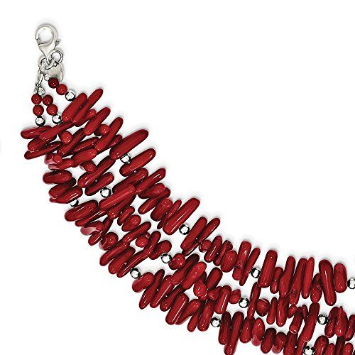 925 Sterling Silver Red Coral 3 Strand 1 Inch Extension Bracelet 7 Gemstone Fine Jewelry Gifts For Women For Her