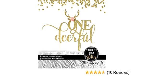 1 pc ONEdeerful script antler flowers DOUBLE SIDED Gold Glitter Cake Topper for first Birthday girl cake smash party deer antler bohemian native tribal