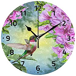 Wamika Hummingbirds Bird Flower Wall Clock Battery Operated Non Ticking Silent Round Acrylic Spring Summer Bird Purple Floral Quartz Decorative Clock for Kitchen Home Office School Easy to Read
