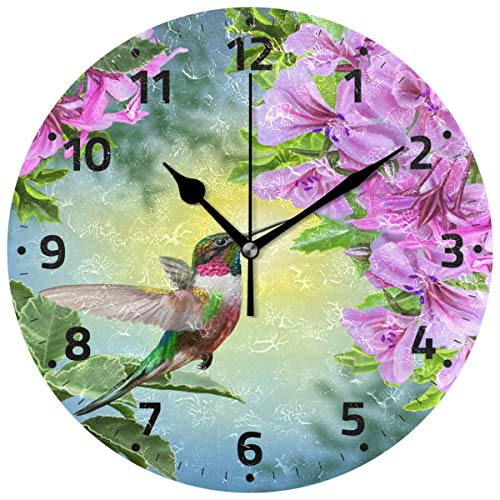 (Wamika Hummingbirds Bird Flower Wall Clock Battery Operated Non Ticking Silent Round Acrylic Spring Summer Bird Purple Floral Quartz Decorative Clock for Kitchen Home Office School Easy to Read)