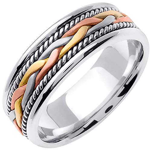 18K Tri Color Gold Braided French Braid Men's Comfort Fit Wedding Band (7mm) Size-17c1 ()