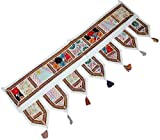 Indian Ethnic Window Valance Home Decor Vintage Embroidered Patchwork Door Hanging (White) 39X13 inches