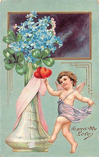 - To Greet My Love Angel and Flowers in Vase Antique Postcard T1211