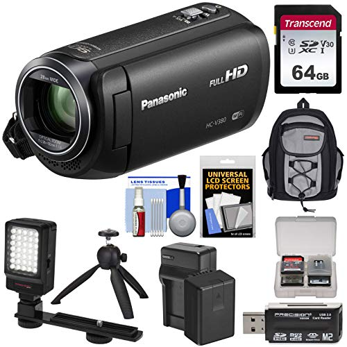 Panasonic HC-V380 Wi-Fi HD Video Camera Camcorder with 64GB Card + Battery & Charger + Backpack + LED Light + Tripod Kit