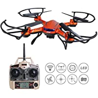 ANNONGONE JJRC H12CH RC Quadcopter Video Photography Quadcotper High Hold HD Camera 6 Axis Gyro Headless Mode Auto Return Function Protection Frame 2.4GHz Remote Control Drone Orange