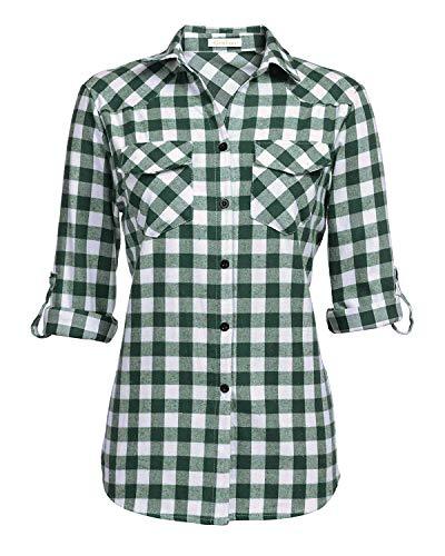 (Genhoo Women's Roll Up Long Sleeve Tartan Plaid Collared Button Down Boyfriend Casual Flannel Shirt Top(Grass Green,M))