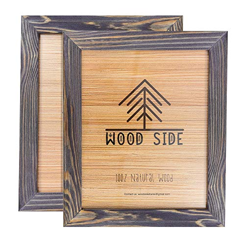 Rustic Wooden Picture Frames 8x10 - Old Dark Grey - Set of 2-100% Natural Eco Solid Wood and High Definition Real Glass for Wall Mounting Photo Frame ()
