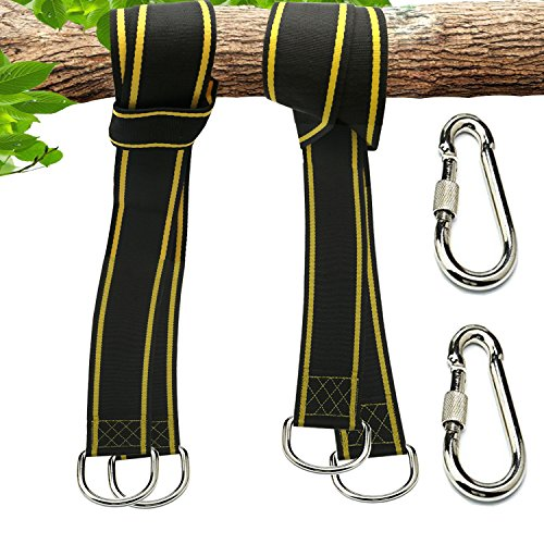Lian-Brillian Swing Hanger/Hammock Straps Hanging set -2 10 Feet Extra Long Straps -Holds 2600Ibs-Easy to Hang Installation to Tree - Bonus with 2 Safer Lock Snap Carabiner Hooks and a Storage Bag by Lian-Brillian