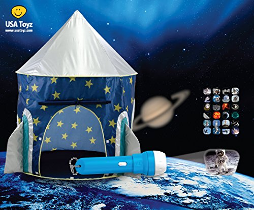 Rocket Ship Play Tent - with Space Torch Projector