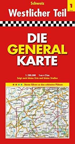 Die Generalkarte Schweiz Westlicher Teil 1:200 000