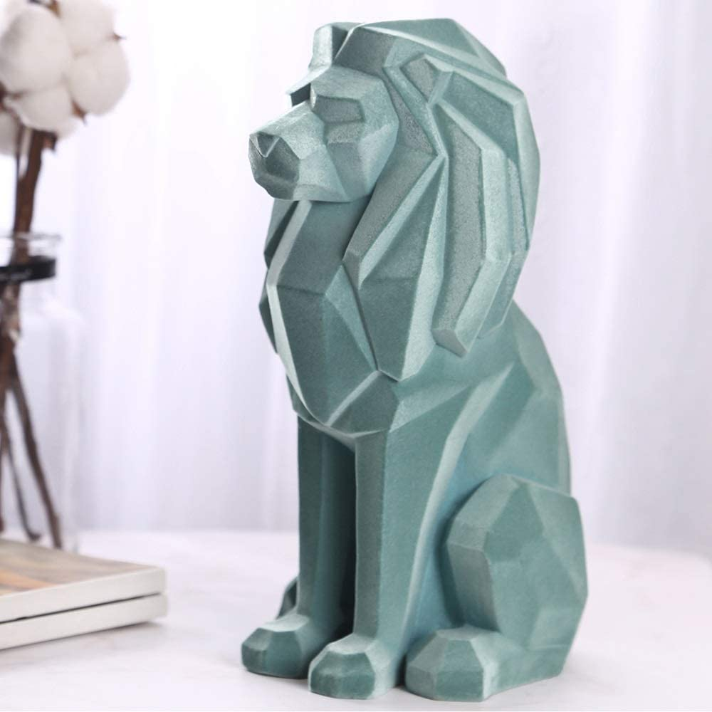 芸術的 樹脂工芸品卸売植毛ステーションライオン動物の装飾品のホームスタジオアクセサリーカスタマイズされたギフト工芸の装飾品 (色 : Green)