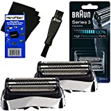 Braun 32S Replacement Foil Head Cassette, Silver (2 pack) for Series 3 (new generation) + Double Ended Shaver Brush + HeroFiber Ultra Gentle Cleaning Cloth