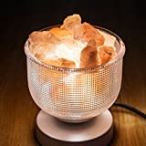Natural Himalayan Rock Pink Salt Lamp in Clear Glass Holder, Release Negative Ions to Purify Air with Dimmer Switch and UL-Listed Cord Included (White)