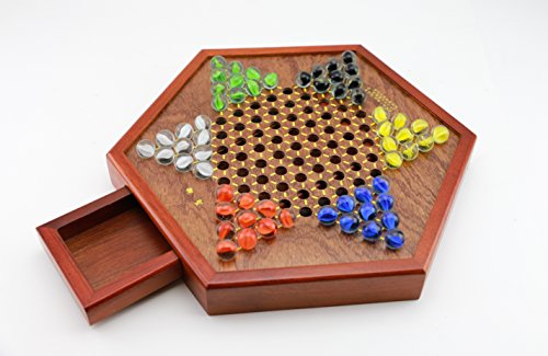 Wooden Chinese Checkers Game Set Drawers and Marbles