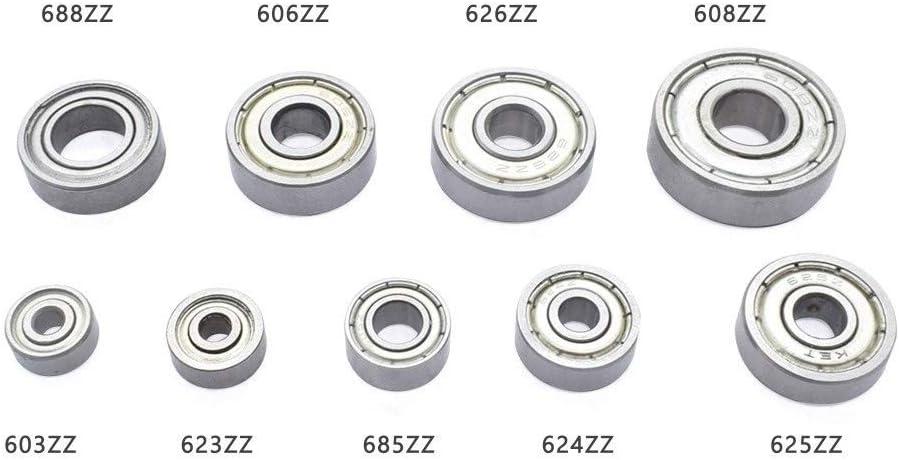 Size : 623ZZ WANGYOUCAO 5PCS Multiple Deep Groove Ball Bearing 603ZZ 608ZZ 623ZZ//624ZZ 625ZZ 685ZZ 688ZZ Wheel for 3D Printer Miniature Bearings 3D Printing Accessories