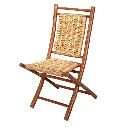 Heather Ann Creations Bamboo Folding Chairs with Open Link Combo Weave, Pack of 2, Brown and Natural by Heather Ann Creations