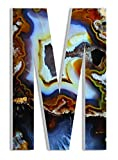 Stupell Home Décor Amber and Blue Geode Slice M 18 Inch Oversized Hanging Initial, 12 x 0.5 x 18, Proudly Made in USA