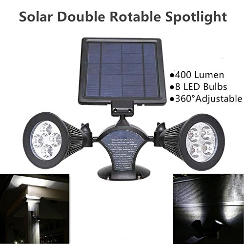Double Solar Spotlight (【Amazing Bright】HowFine Solar 400 Lumen 8 LED Double Rotation Spotlight, Wireless Mount to Wall Stake Lamp, 360° Adjustable Corner Light for Outdoor Tree Garden Yard Patio Path Driveway (White Light))