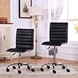 Set of 2 Fremo Chromel Contemporary Office Chairs, Black
